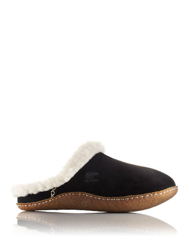 Sorel Nakiska Suede Slippers with Faux Fur-BLACK FOSSIL-9