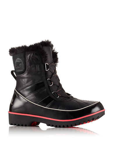 Sorel Tivoli II Leather Boots with Faux Fur-BLACK PATENT-5