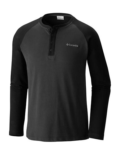 Columbia Ward River Cotton Henley-BLACK-Medium