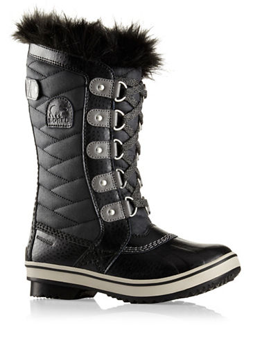 Sorel Youth Tofino II Waterproof Boots with Faux Fur Cuffs-BLACK-2