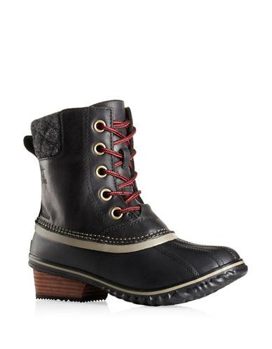 Sorel Slimpack II Leather Lace Boots-BLACK-7.5