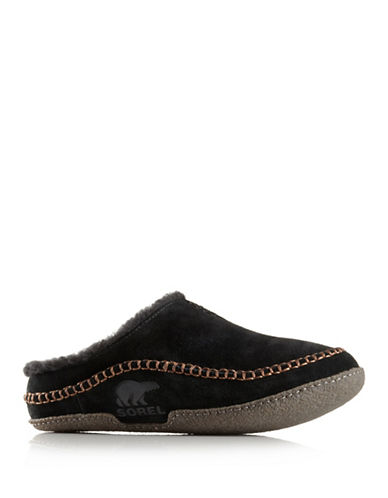 Sorel Falcon Ridge Leather Slippers-BLACK-7