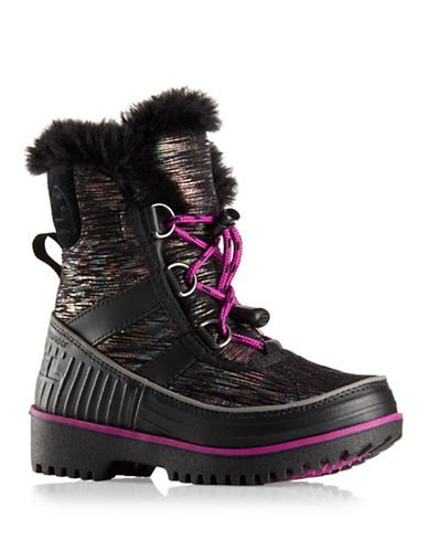 Sorel Toddler Tivoli II Waterproof Boots with Faux Fur Trim-BLACK-8