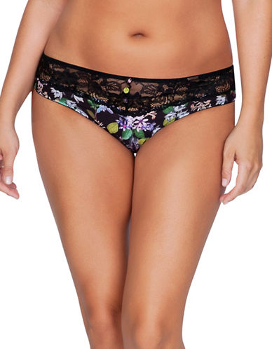 Parfait Floral Low-Rise Bikini-BLACK-Small