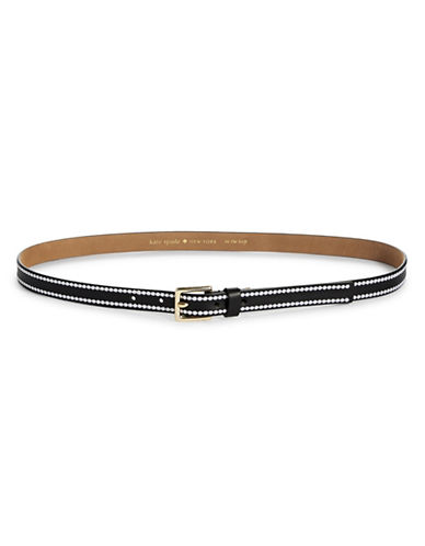 Kate Spade New York Embroidered Belt-BLACK-Small