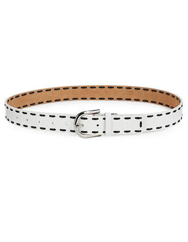 Michael Michael Kors Laced Leather Belt-WHITE-Large