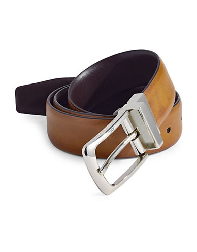 Cole Haan Five-Notch Leather Belt-TAN-32