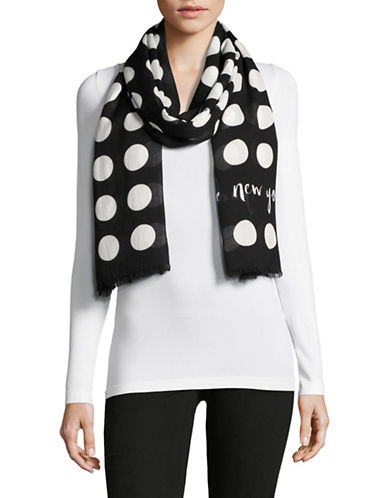 Kate Spade New York Polka Dot Printed Scarf-BLACK-One Size