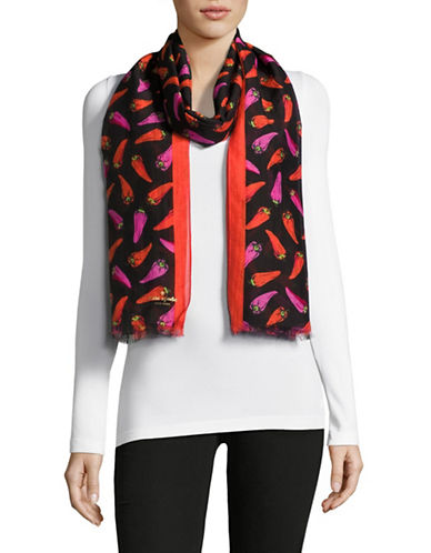 Kate Spade New York Hot Pepper Cotton-Silk Scarf-BLACK-One Size