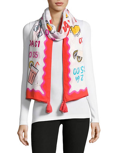 Kate Spade New York Taco Menu Oblong Scarf-MULTI-One Size