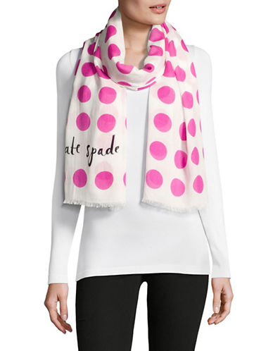 Kate Spade New York Polka Dot Printed Scarf-PINK-One Size
