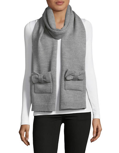 Kate Spade New York Half Bow Muffler Scarf-GREY-One Size
