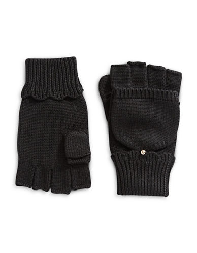 Kate Spade New York Scallop Pop Top Wool Gloves-BLACK-One Size