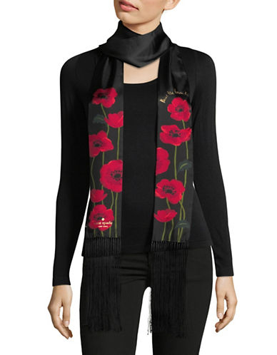 Kate Spade New York Growing Poppies Long Skinny Silk Scarf-BLACK-One Size