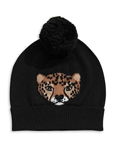 Kate Spade New York Cheetah Intarsia Wool Beanie-BLACK-One Size