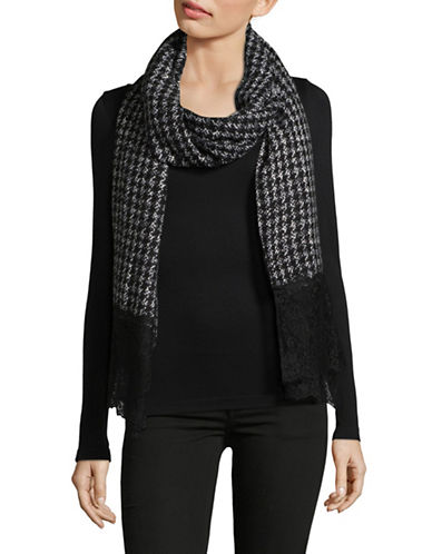 Michael Michael Kors Paisley Houndstooth Scarf-BLACK-One Size