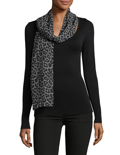 Michael Michael Kors Leopard Plaid Scarf-BLACK-One Size