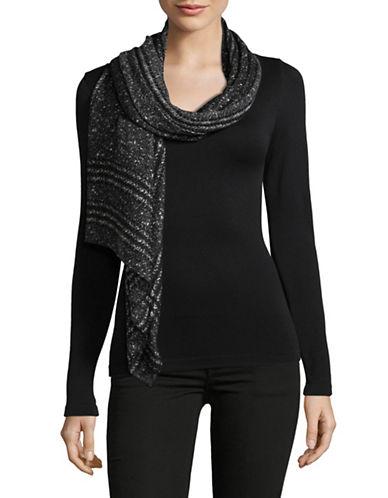 Michael Michael Kors Plaid Tweed Oblong Scarf-BLACK-One Size