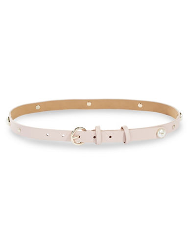 Kate Spade New York Studded Smooth Leather Belt-NATURAL-Small