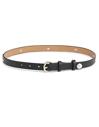 Kate Spade New York Studded Smooth Leather Belt-BLACK-Small