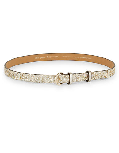 Kate Spade New York Sparkle Slim Belt-SILVER-Medium