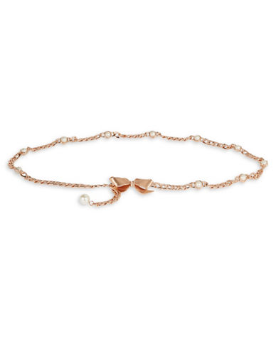 Kate Spade New York Bow and Pearl Chain Belt-ROSE GOLD-Medium/Large