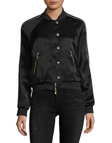 Juicy Couture Duchess Satin Bomber Jacket-BLACK-Small