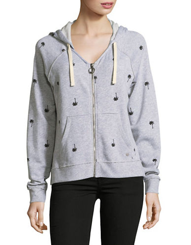 Juicy By Juicy Couture Printed Terry Zip Hoodie-GREY-Small