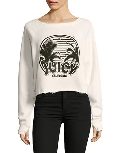 Juicy By Juicy Couture Beach Crop Sweatshirt-WHITE-X-Small