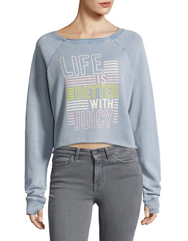 Juicy By Juicy Couture Life Is Better Crop Sweatshirt-BLUE-Small