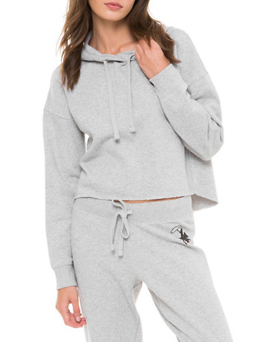 Juicy By Juicy Couture Heathered Cowboy Pullover Hoodie-SILVER-Small