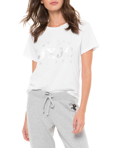 Juicy By Juicy Couture Outlaw Babes Graphic Logo Tee-WHITE-Medium