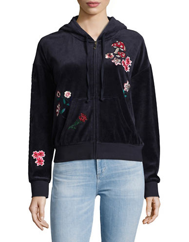 Juicy Couture Floral Velour Hoodie-BLUE-X-Small 89511741_BLUE_X-Small