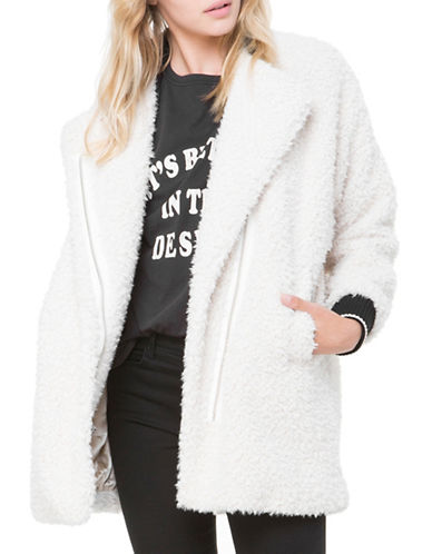 Juicy By Juicy Couture Sherpa Moto Coat-WHITE-Small