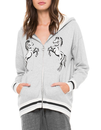 Juicy By Juicy Couture Intarsia Horse Zip Up Hoodie-SILVER-X-Small