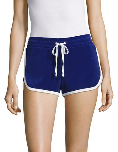 Juicy Couture Patches Microterry Shorts-BLUE-Large