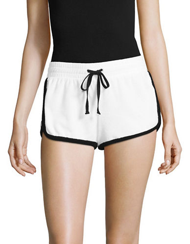 Juicy Couture Patches Microterry Shorts-WHITE-X-Small