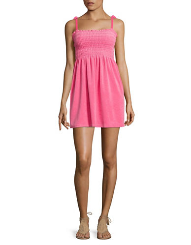 Juicy Couture Terry Ties Smocked Sundress-PINK-Medium