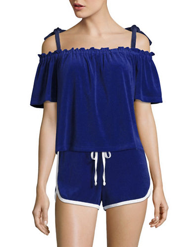 Juicy Couture Terry Off-The-Shoulder Top-BLUE BLAZE-Large