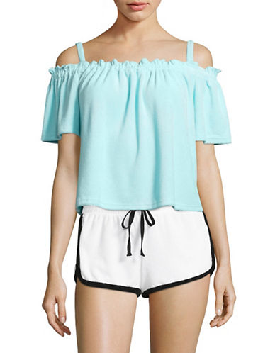 Juicy Couture Terry Off-The-Shoulder Top-BLUE-X-Small