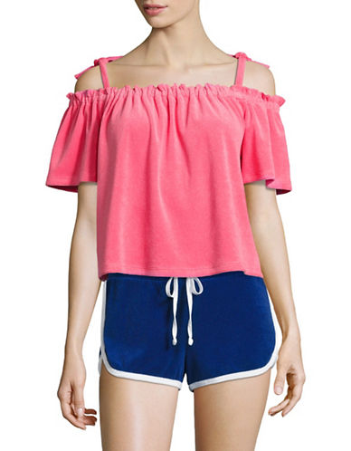 Juicy Couture Terry Off-the-Shoulder Top-PINK-X-Small 89304567_PINK_X-Small