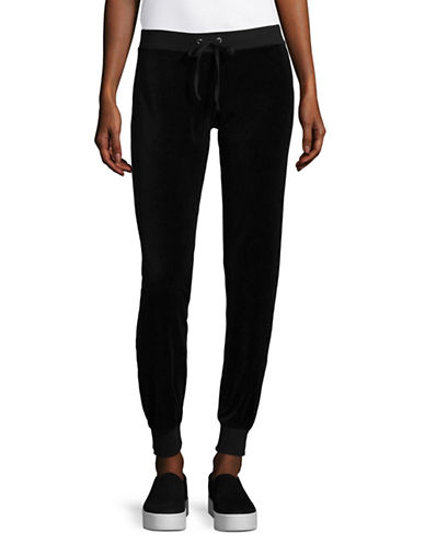 Juicy By Juicy Couture Gothic Crystals Velour Sweatpants-BLACK-Small