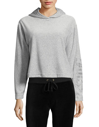 Juicy By Juicy Couture Cropped Velvet Hoodie-GREY-X-Small