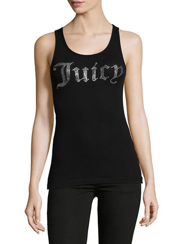 Juicy By Juicy Couture Gothic Crystal Ribbed Tank Top-BLACK-Small
