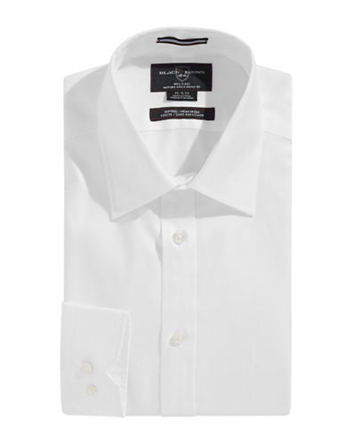 Black Brown 1826 Fitted Non Iron Oxford Dress Shirt-WHITE-17-35