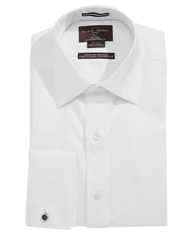 Black Brown 1826 Classic Fit Non Iron Egyptian Cotton Tux Shirt-WHITE-17.5-34