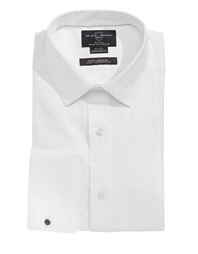 Black Brown 1826 Textured Formal Dress Shirt-WHITE-17-34
