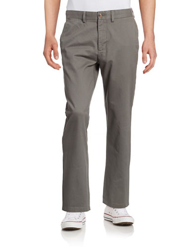 Black Brown 1826 Classic Fit Twill Chino Pants-CHARCOAL-36X32
