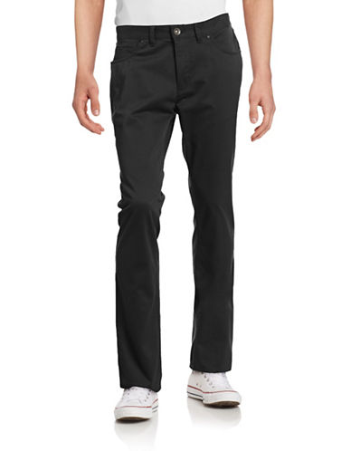 Black Brown 1826 Tailored Fit Twill Pants-BLACK-34X34
