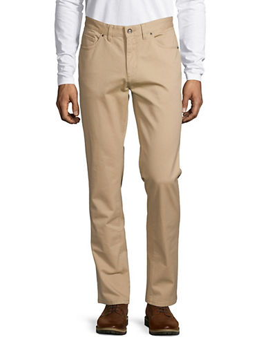 Black Brown 1826 Tailored Fit Twill Pants-LIGHT TAN-34X32